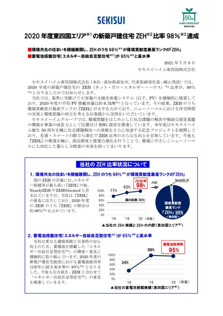 【2107リリース】2020 年度東四国エリア新築戸建住宅 ZEH比率 98%達成のサムネイル